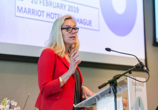 Dutch minister of Trade and Development Cooperation Sigrid Kaag during her keynote address