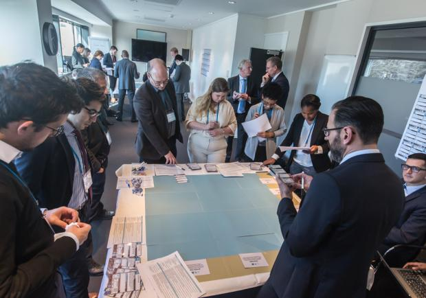 Participants playing the Climate & Security Capabilities Game provided by the Hague Centre for Strategic Studies and the Clingendael Institute